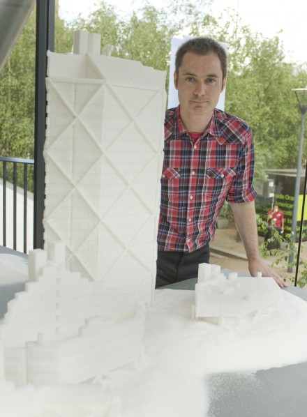 Architectural scale models made with sugar cubes