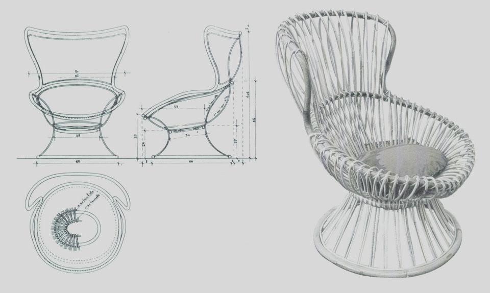 Margherita armchair in raftan cane presented at the 9th Milan Triennale of 1951.