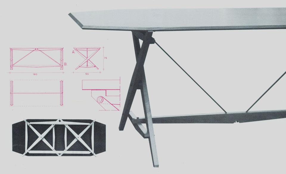 Trestle table, 1951, for Poggi