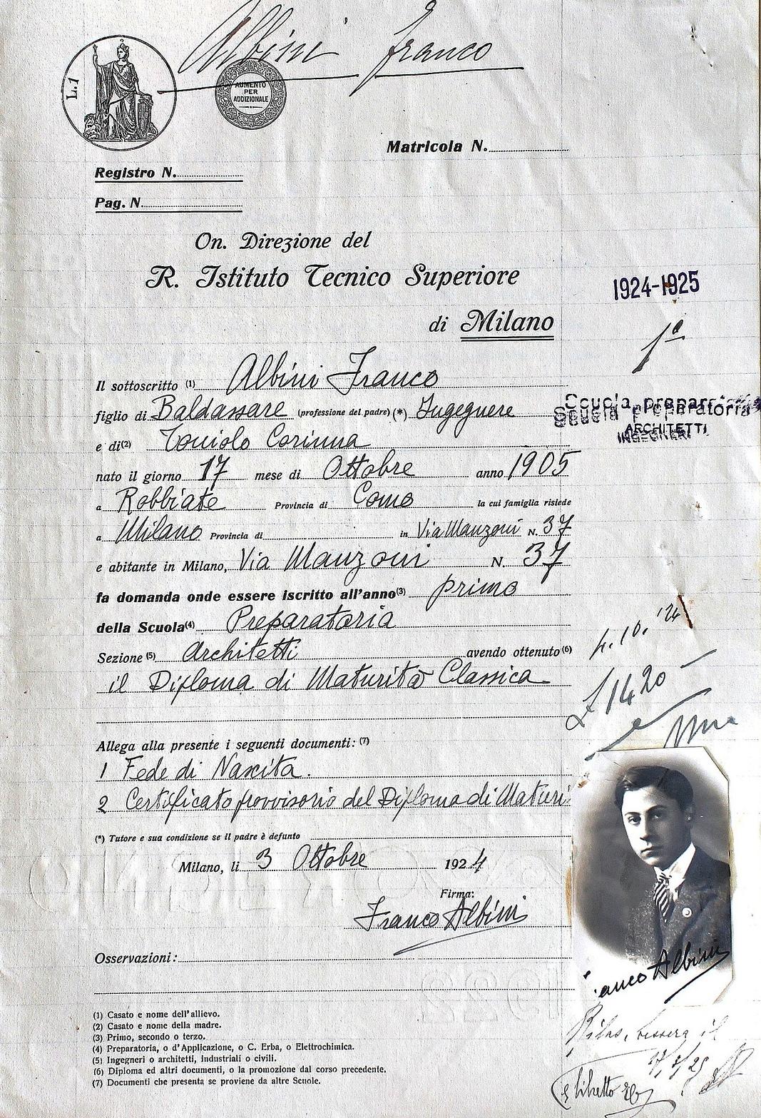 certificate franco albini