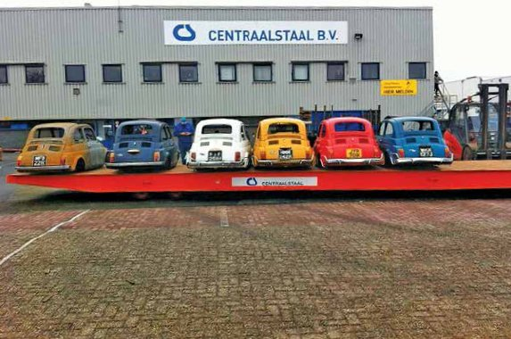 Fiat 500s arriving at Centraalstaal factory, Groningen, The Netherlands, February 2013
