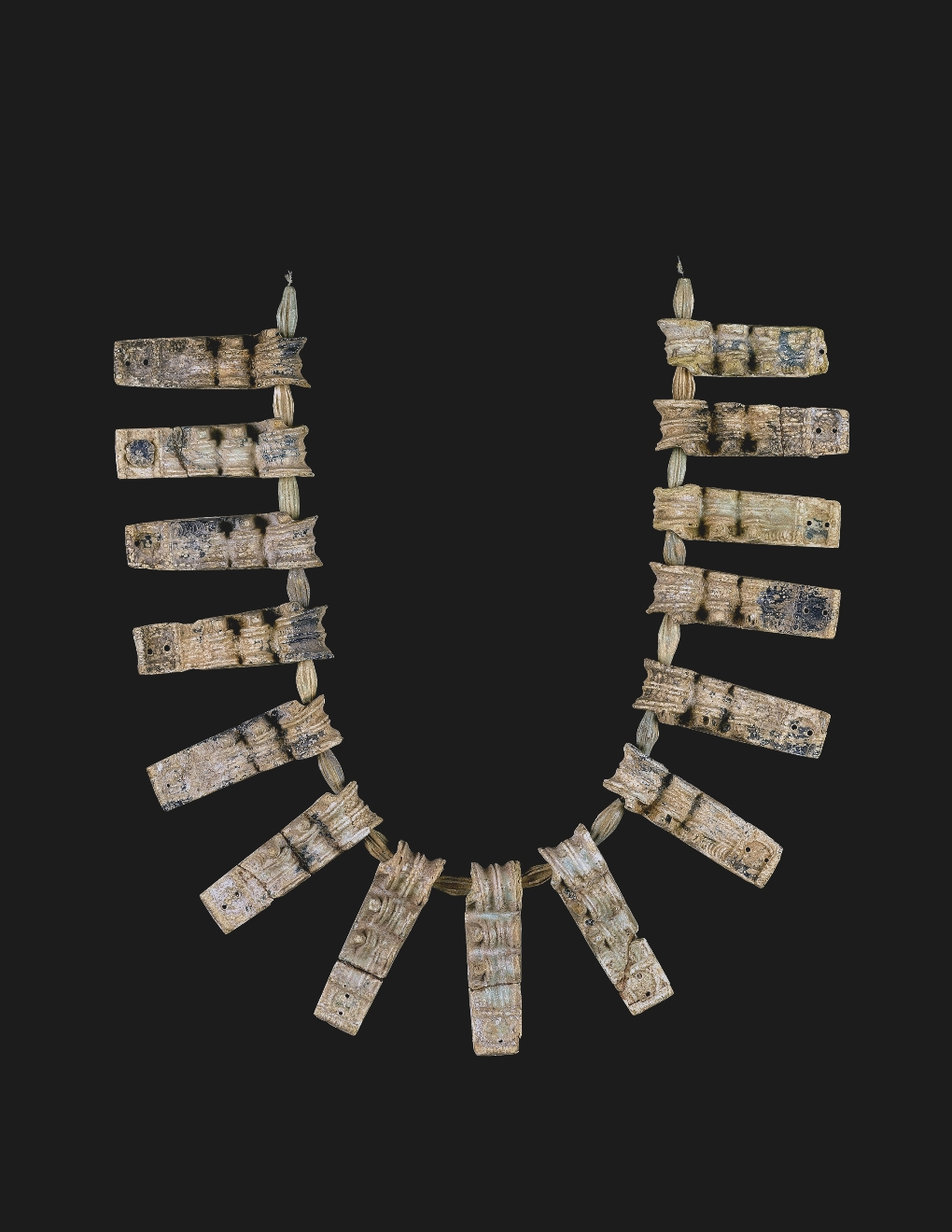 Necklace with Glass Pendants and Faience Beads Southern Greece or Crete, 1400 to 1250 B.C. Translucent deep blue, aquamarine, blue-green Mold-pressed Pendants