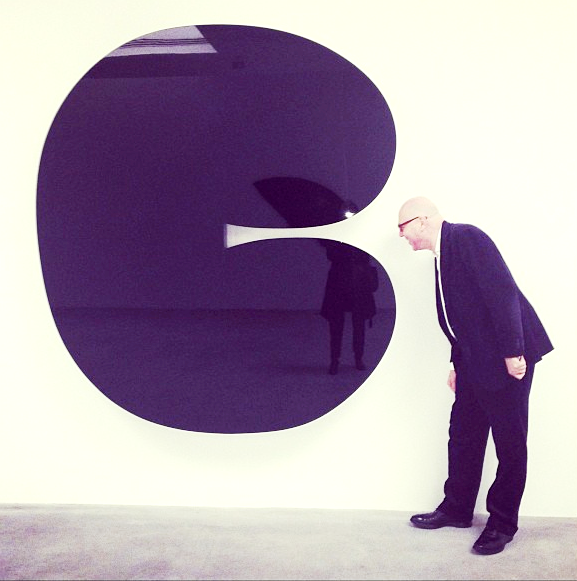 Staffan Ahrenberg with Ellsworth Kelly's Black Form 11 at Matthew Marks photo by Anna Rosa Thomae
