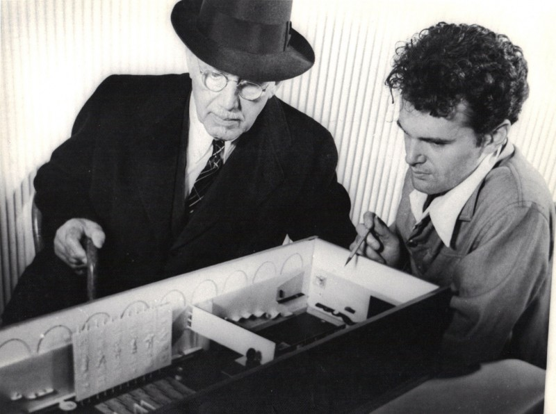 Charles Eames (r) with Cranbrook's founder, George Booth ( l)