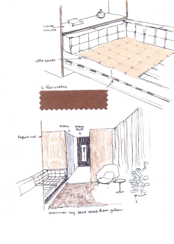 Florence Knoll Bassett sketch for the Office Suite for Dr. Frank Stanton, President in Columbia Broadcasting System Building, New York (1966)