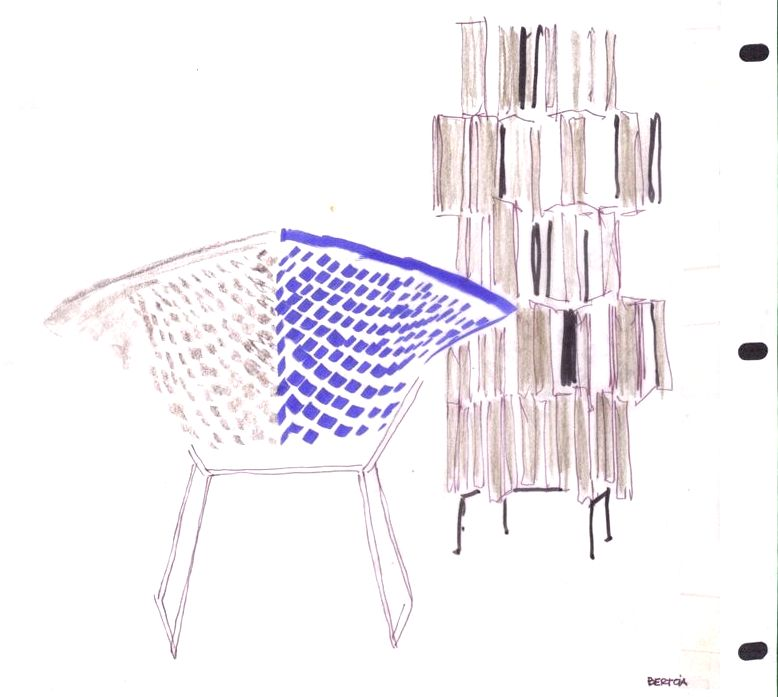 Florence Knoll sketch of the Bertoia Chair sketch for the Smithsonian Traveling Textile Show
