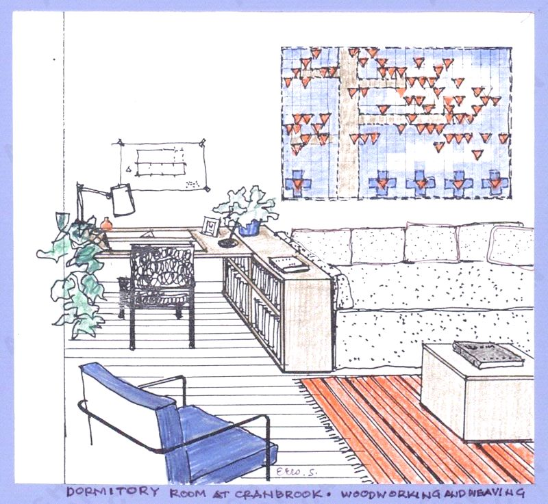 drawing by florence knoll at cranbrook in 1934