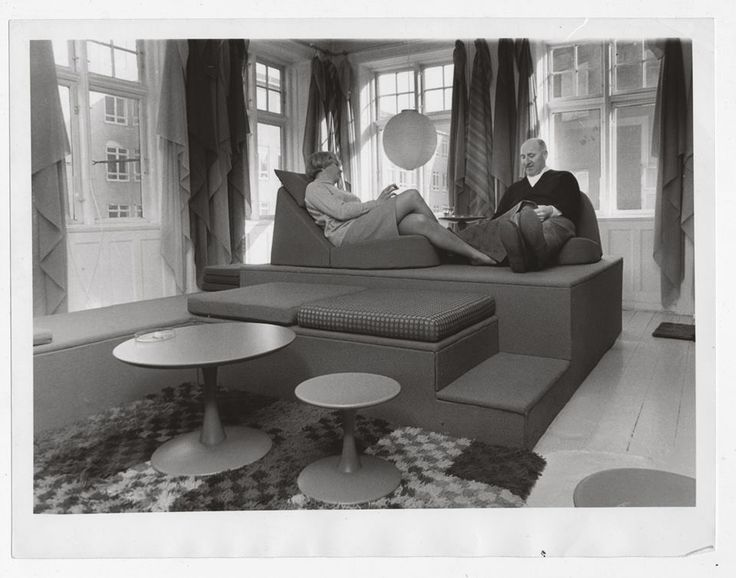 Nanna Ditzel and Percy von Halling-Koch in the showroom of the Halling-Koch Design Center, 1965