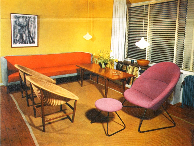 advertisement from the 70′s showing the conventional indoor use of the 'basket chair'