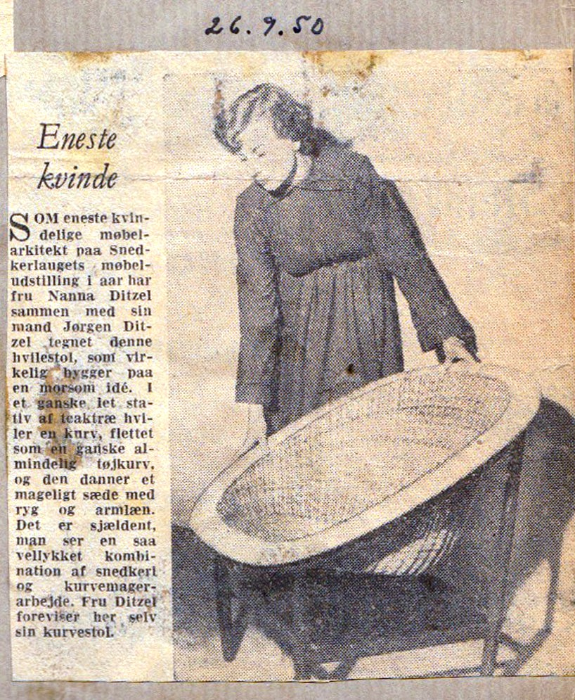 newspaper clipping from the 1950′s with a review of the furniture piece