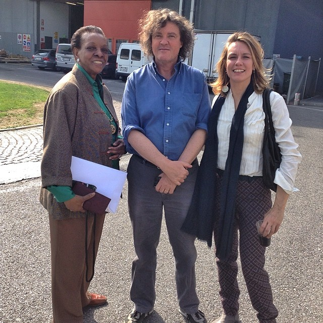 Marva Griffin, President of #SaloneSatellite with architect Davide Pizzigoni and curator Francesca Molteni
