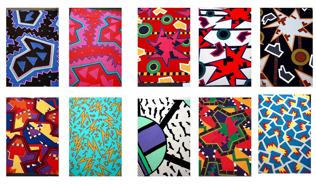 Memphis fabric design by Sottsass and du Pasquier 1981 - 1983