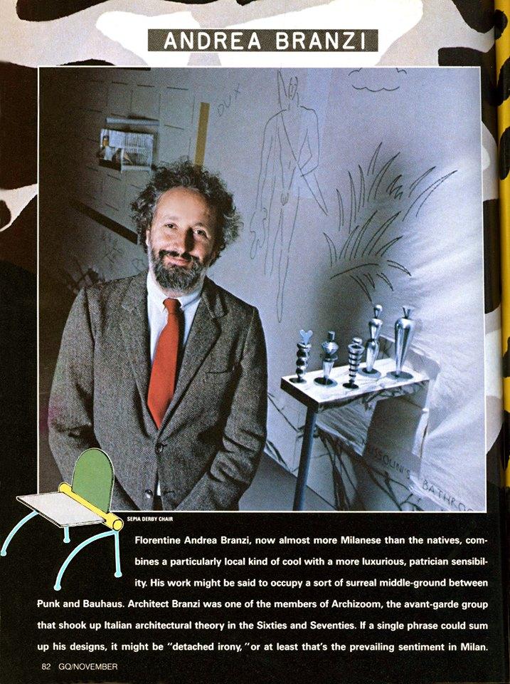andrea branzi 1982 GQ magazine