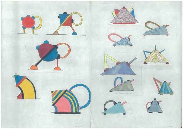 memphis teapots skecthes by matteo thun