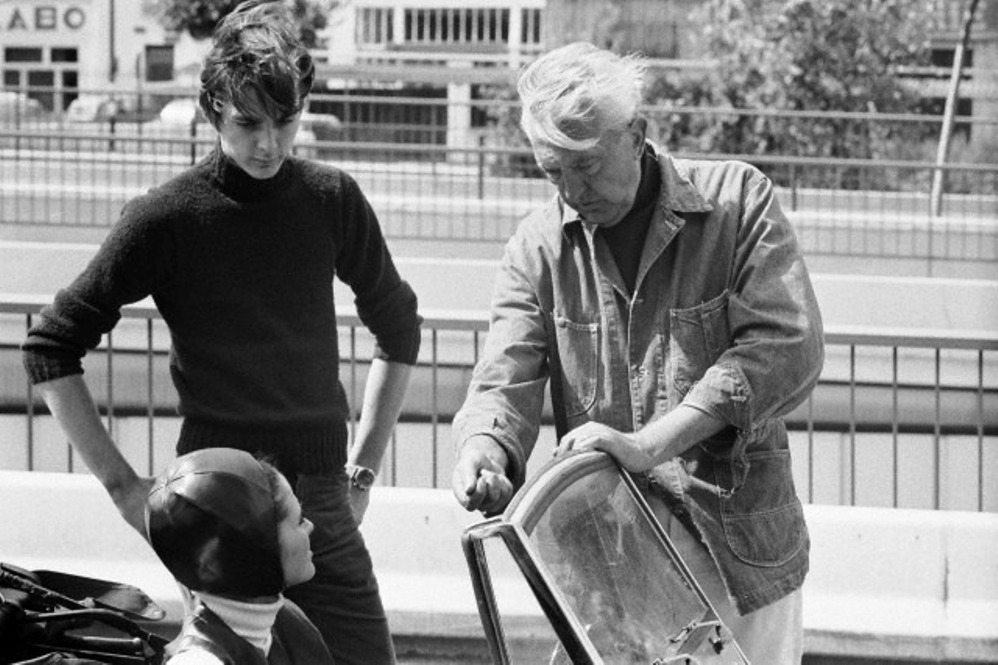 Maria Kimberly with Jacques Tati and his son Pierre Tati on the set of Trafic (1971)