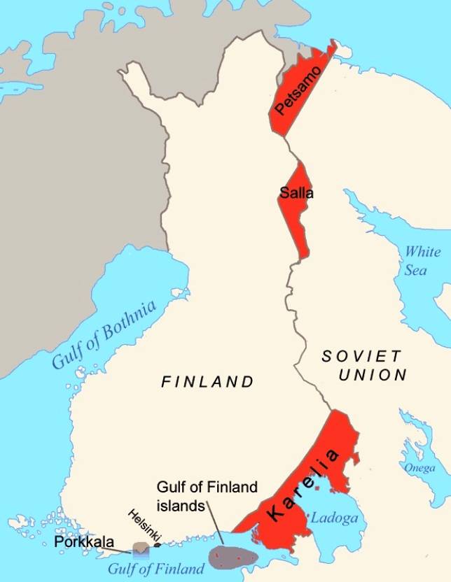 Areas ceded by Finland to the Soviet Union after the Winter War in 1940 and the Continuation War in 1944