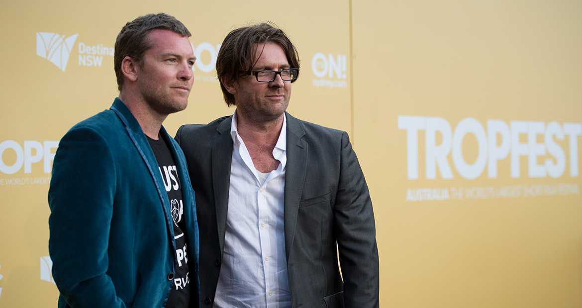 sam worthington (l) with john polson (r)