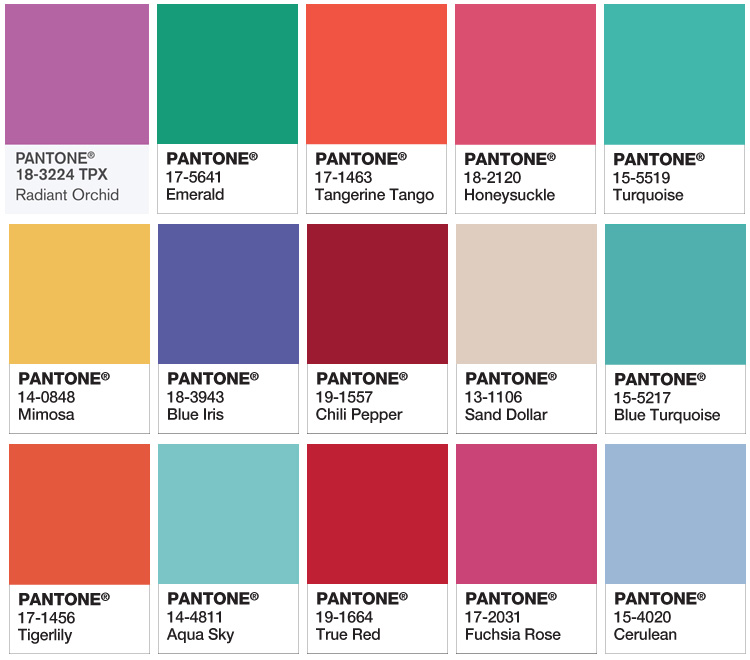 past pantone colours of the year