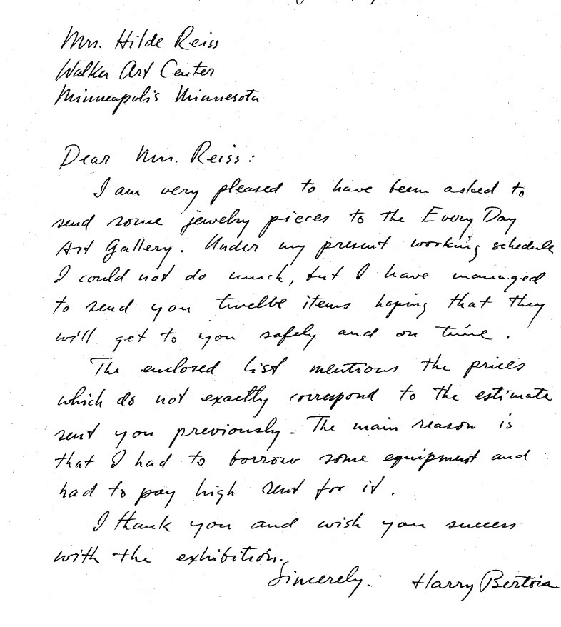 1948 jewellery letter to walker art centre