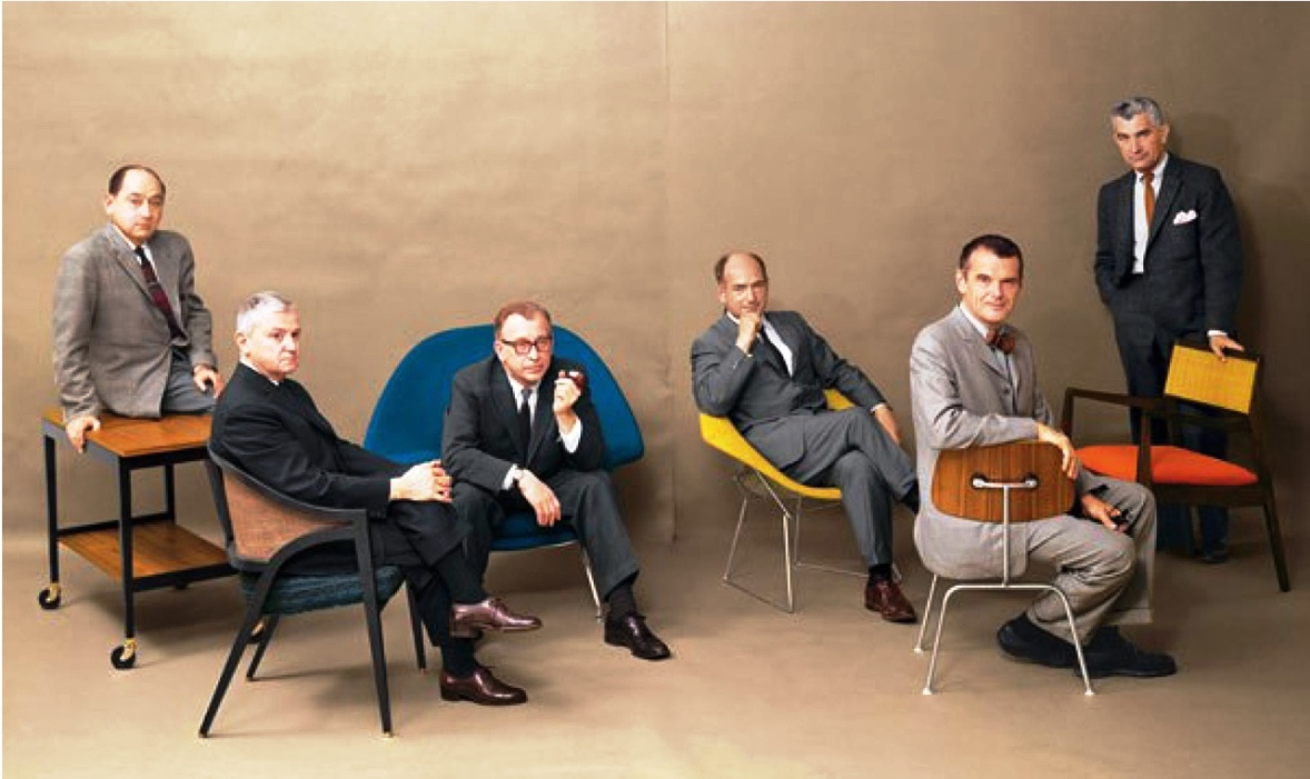 George Nelson, Edward Wormley, Eero Saarinen, Harry Bertoia, Charles Eames, Jens Risom