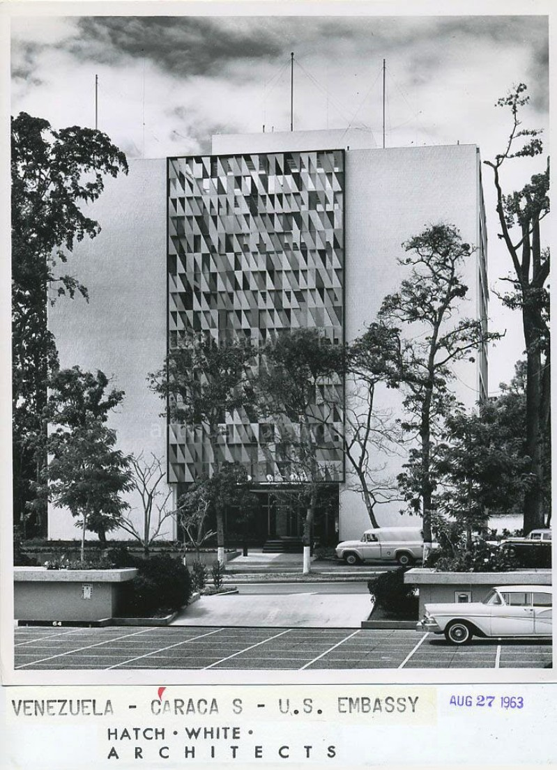 Old US Embassy building in Venezuela (1957), with a metallic mural by American artist Harry Bertoia, La Floresta, Caracas. 1963