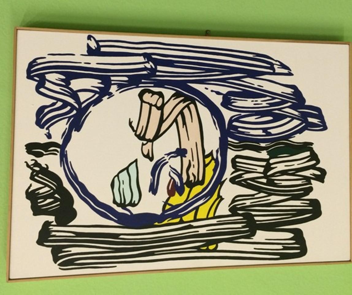 Roy Lichtenstein, Apple with black and blue blackground, 1982