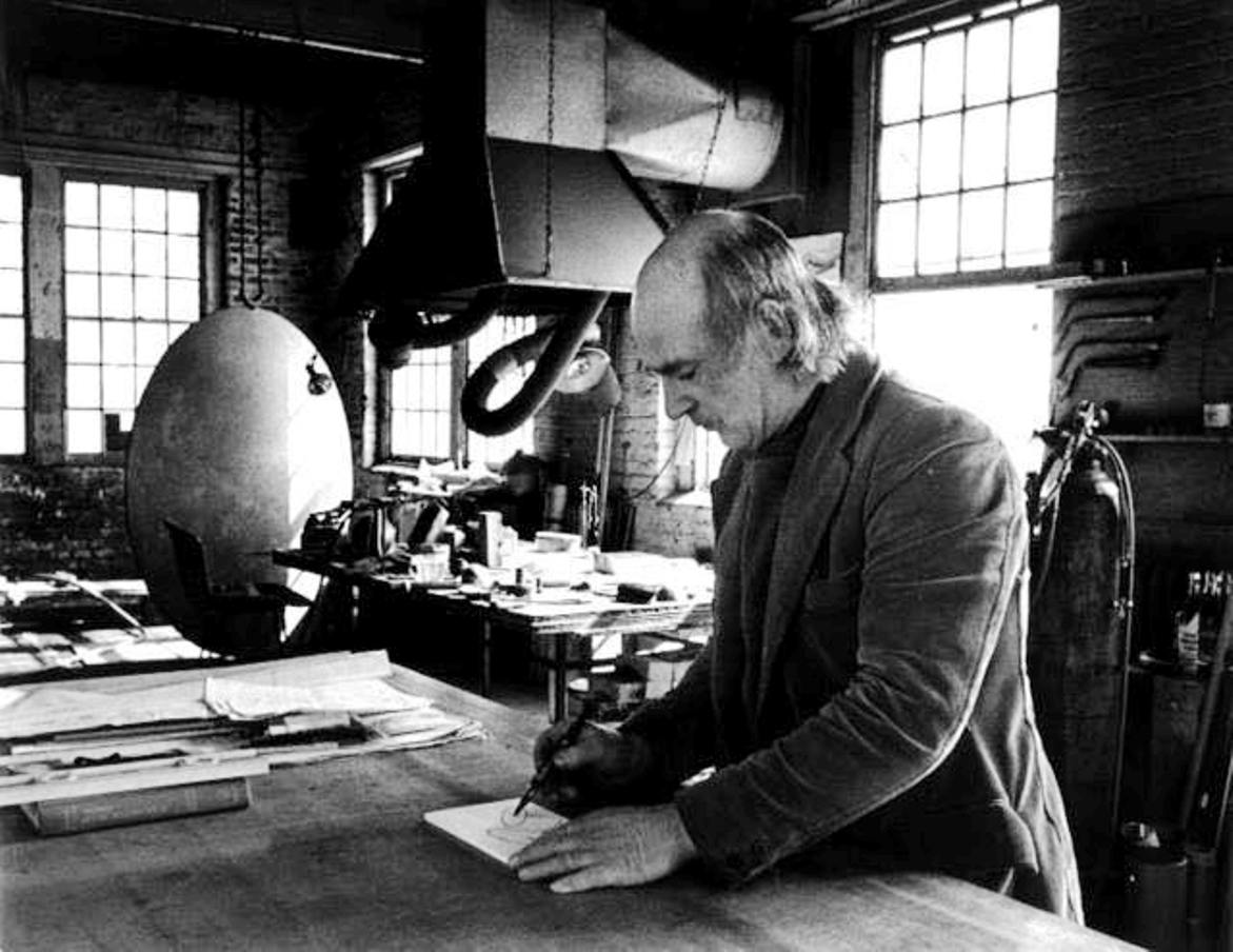 bertoia in his studio