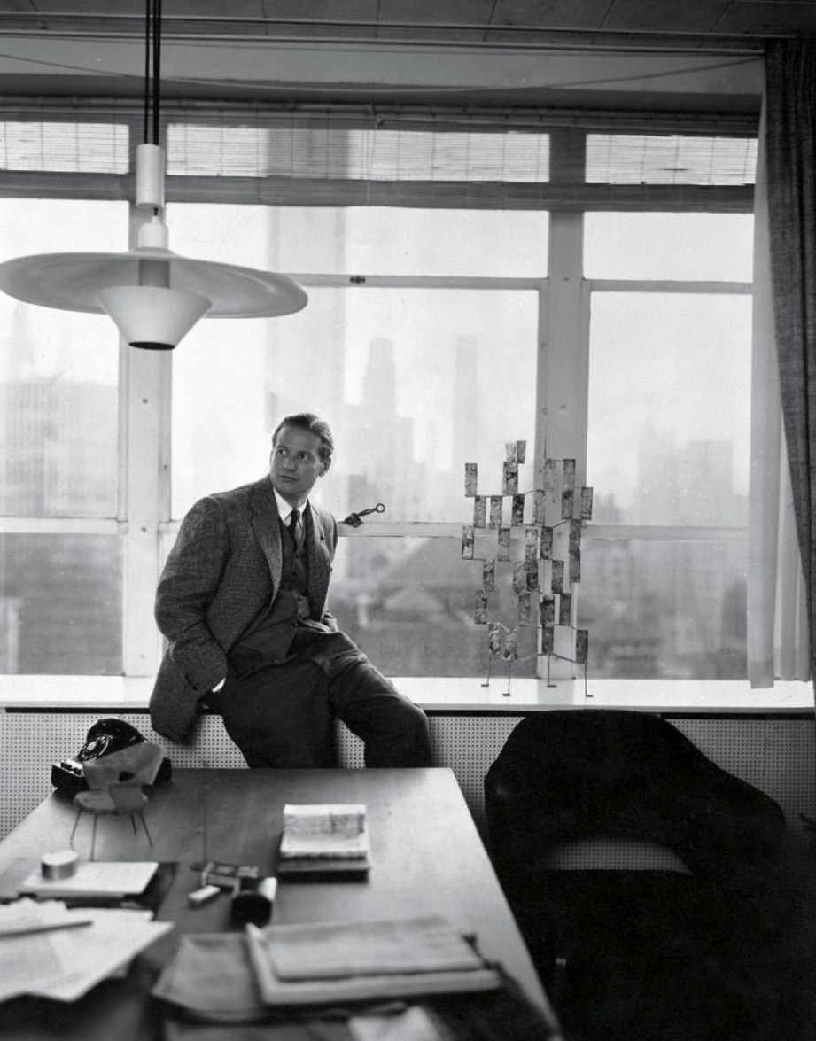 hans knoll in ny office with bertoia sculture
