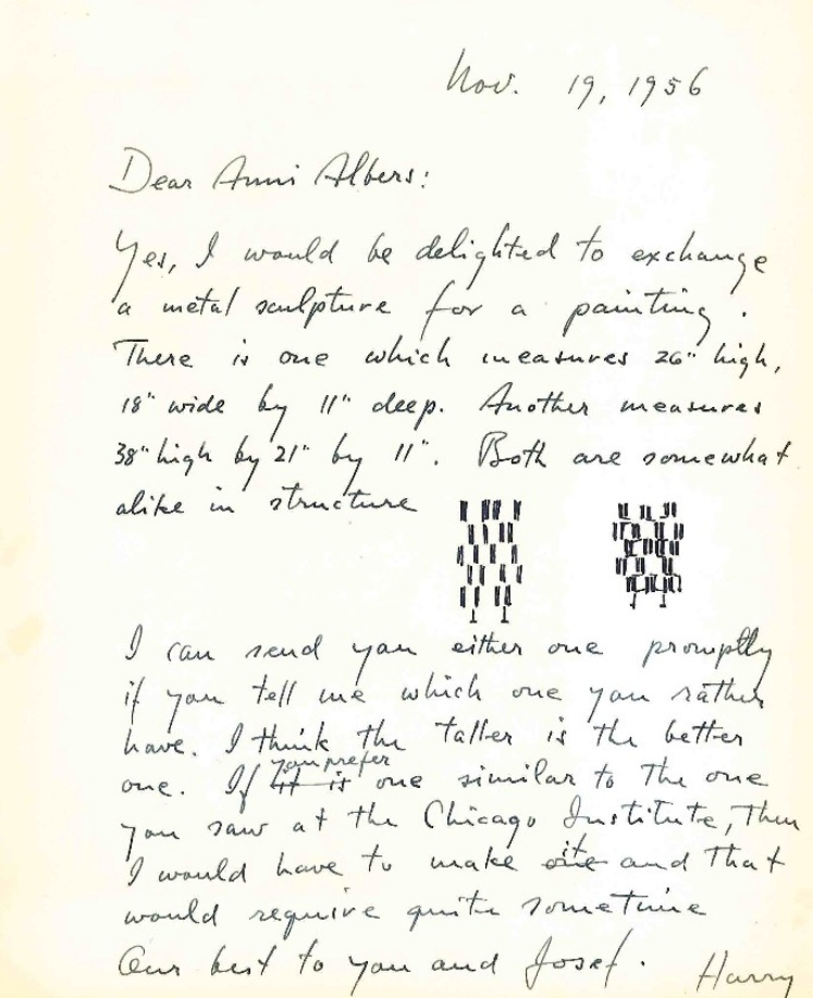 letter to anni albers to swap sculptre for painting 1956