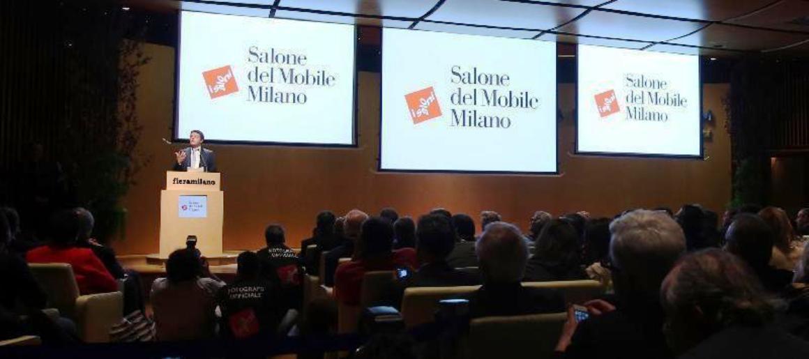 matteo renzi prime minister italy at salone milan 2015