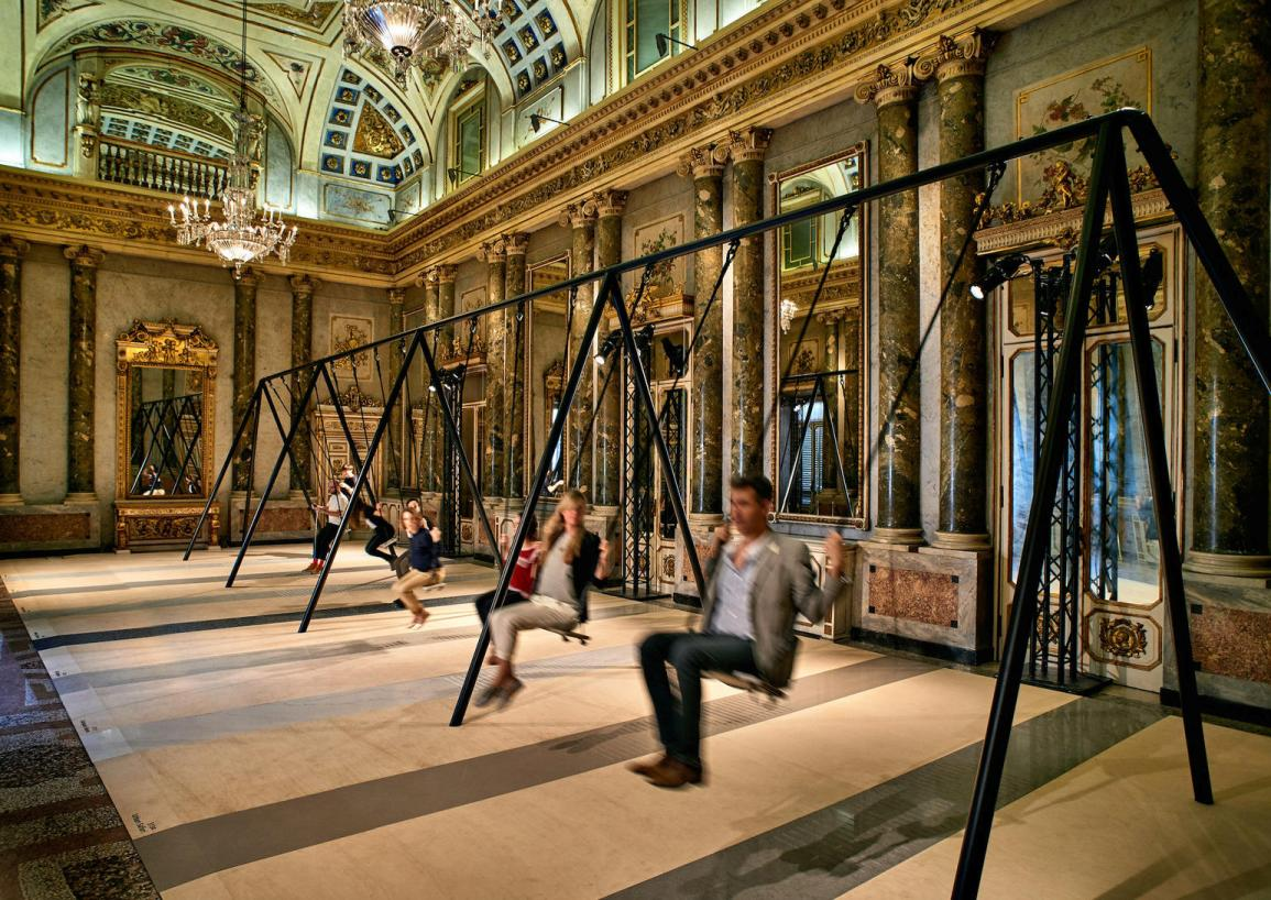 The Movements swing set by Phillippe Malouin for Caeserstone