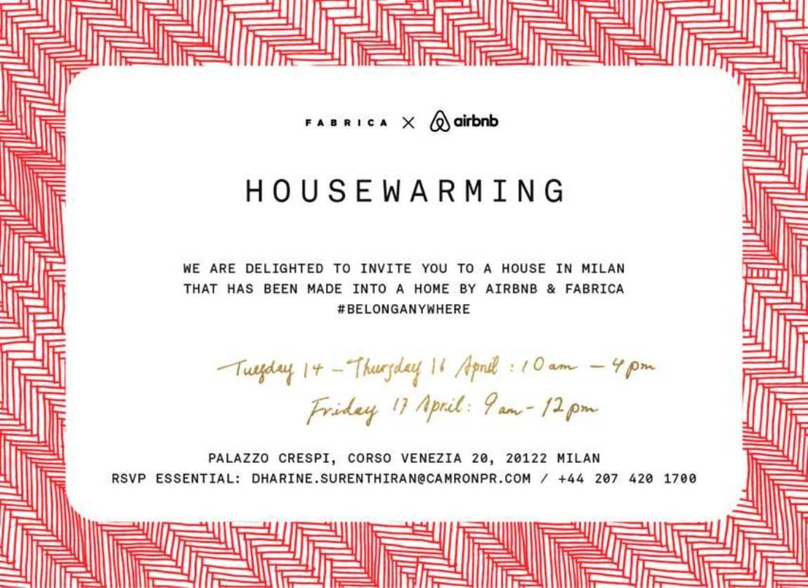 fabrica airbnb invitation