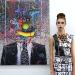 evan gruzis self portrait and model wearing lisa thom - john grande collaboration