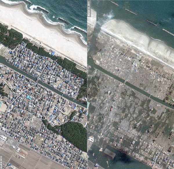 Japan Tsunami satellite images