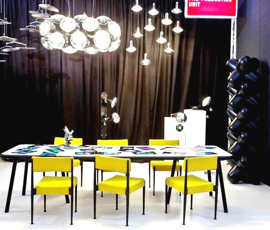 bulb chandelier, bulb lights, cast chairs and table