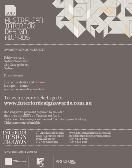 Australian Interior Design Awards 2010 – the short list