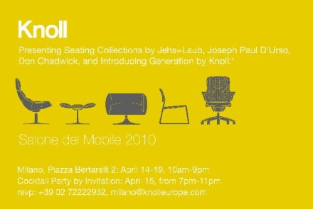 "Salone Milan 2010 – Knoll …. ""No Compromise Ever!"""
