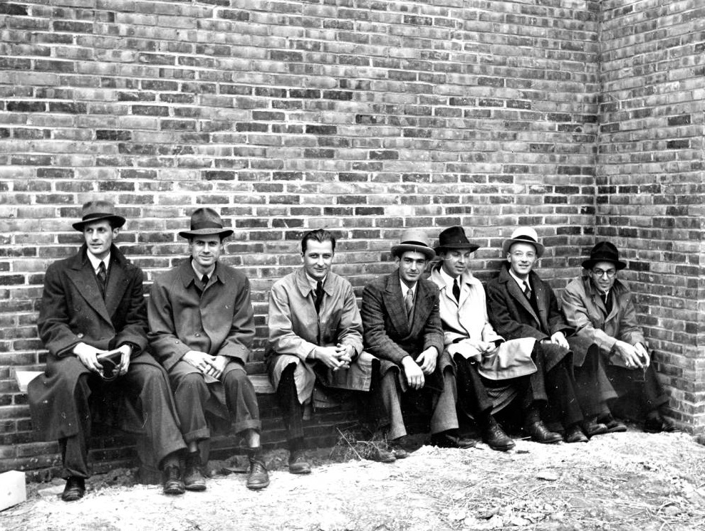 1939 architecture students at Cranbrook  From left  Edward Elliott, Victor King Thompson, Ted Luderowski, Harry Bertoia, Lawrence Lackey, James Berkey, Vito Girone
