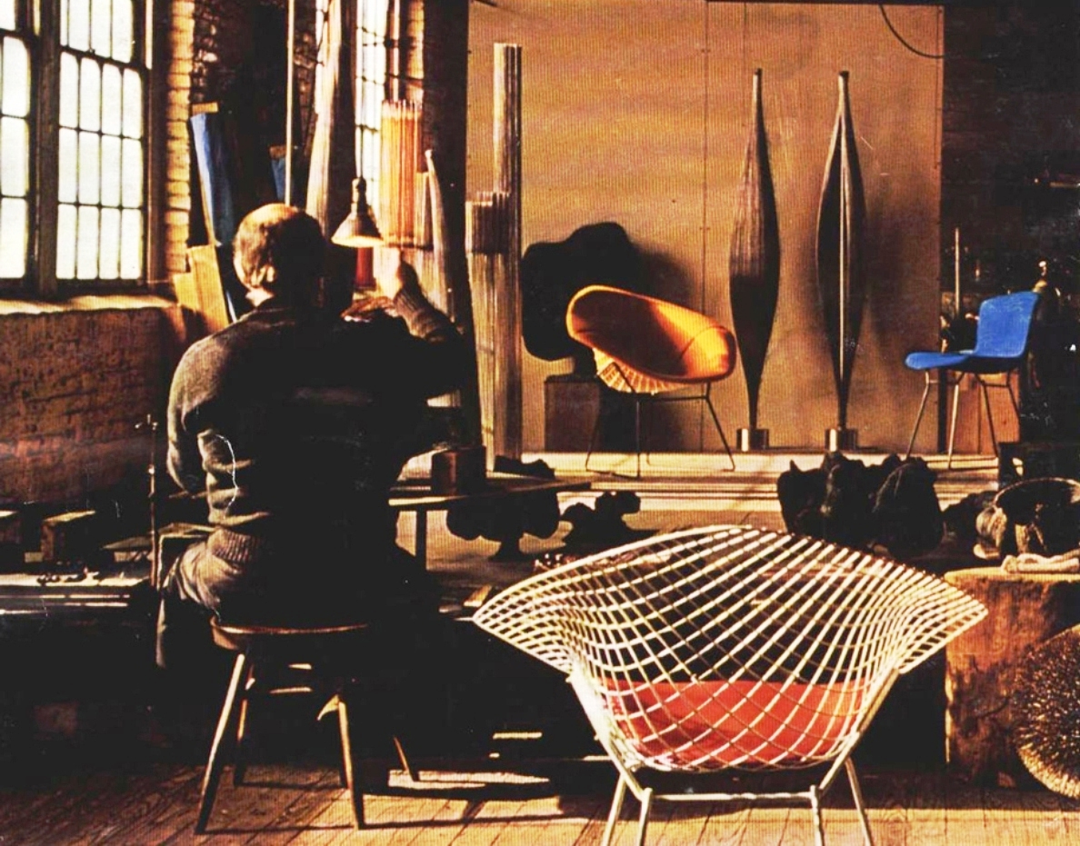 Bertoia in his studio in Bally, Pennsylvania, surrounded by his works - 1976