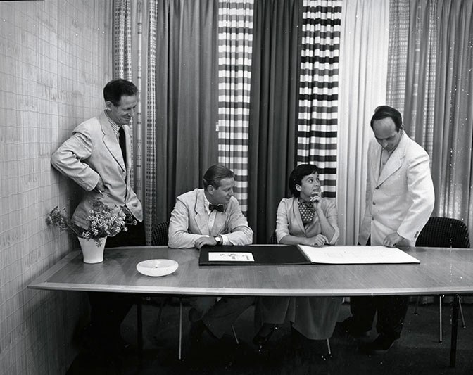 an early 1950s photograph of Herbert Matter, Hans Knoll, Florence Knoll and Harry Bertoia