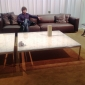curling sofa and  florence knoll coffee tables