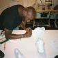 virgil abloh in his milan studio working on the prototypes for the Top Ten Reconstruction project for NIke (1)